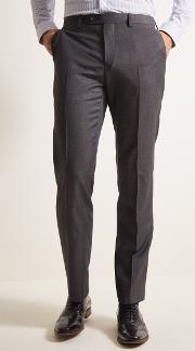 tailored fit grey pindot trousers