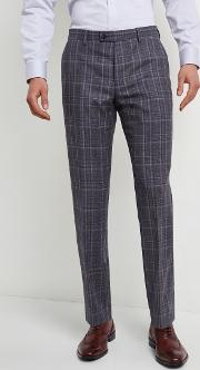 tailored fit grey with blue check trousers