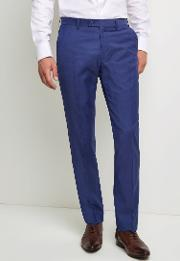 tailored fit iris blue twill trousers