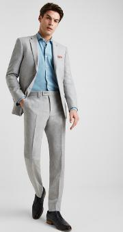 tailored fit light grey crepe jacket
