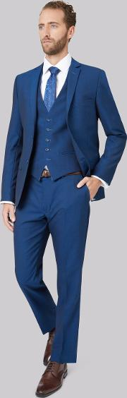 Tailored Fit Teal Mohair Look Jacket