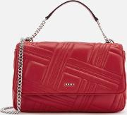 Allen Large Flap Quilt Shoulder Bag Rouge