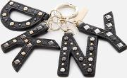 Leather Key Fob With Studs Gold