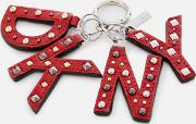 Leather Key Fob With Studs Rouge