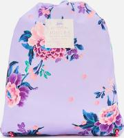 ' Junior Rubber Drawstring Bag Lilac Chinoise Floral