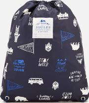 ' Junior Rubber Drawstring Bag Navy Happy Camper