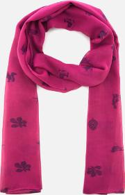 Wensley Etched Animals Woven Scarf Ruby