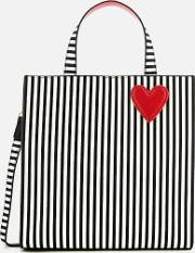 Stripe Hearts And Lips Davina Tote Bag Blackchalk