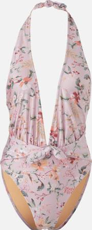 Summer Meadow Tie Front One Piece  Floral Xs
