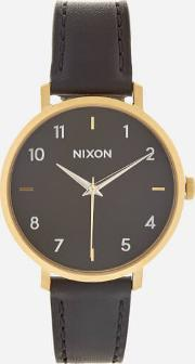 The Arrow Leather Watch Black