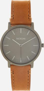 The Porter Leather Watch Gunmetalcharcoaltaupe