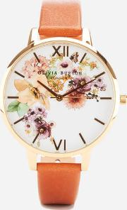 Flower Show Watercolour Watch  Gold