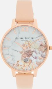 Marble Florals Watch  Peachrose Gold
