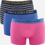 3 Pack Classic Trunks Charm Pinkindian Skynavywhite Stripe S