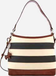 Babington Stripe Medium Zip Top Shoulder Bag Blackoyster