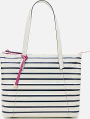 Wood Street Stripe Large East West Tote Bag Chalk