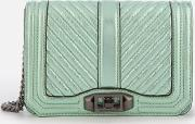 Chevron Quilted Small Love Cross Body Bag Mint