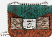 Mila Snake Cross Body Chain Bag Pinecreamorange