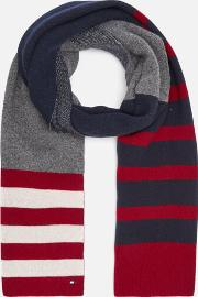 Seasonal Stripe Scarf Navywhitered