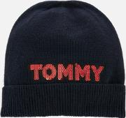 Tommy Patch Knit Beanie Navy