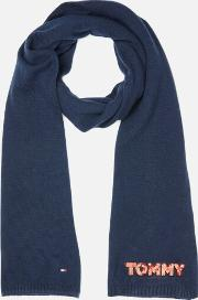 Tommy Patch Knit Scarf Navy