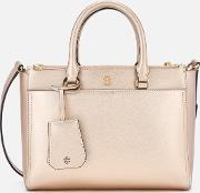 Robinson Small Metallic Small Double Zip Tote Bag Light Rose