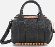 Mini Rockie Pebbled Leather Bag With Rose Gold Studs