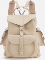 Medium Leather Rucksack Sand