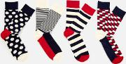 Big Dot 4 Pack Socks Box  Uk 7.5 11.5