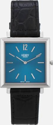 Heritage Square Leather Watch Navy