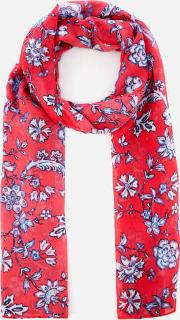Wensley Long Line Woven Scarf  Sky Indienne Floral