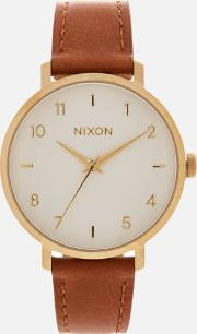 The Arrow Leather Watch Goldwhitesaddle