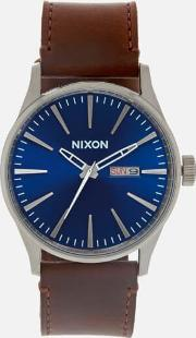The Sentry Leather Watch Blue