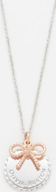 Coin And Bow Necklace Rose Goldsilver