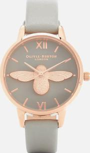 Moulded Bee Midi Dial Watch Rose Gold
