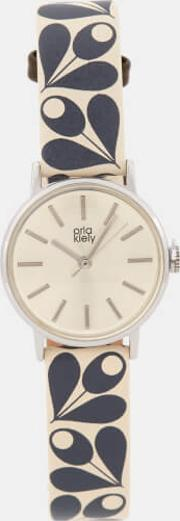 Patricia Print Leather Watch Navy