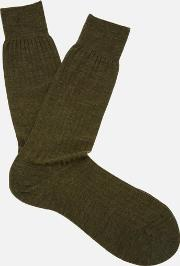 Labernum Merino Rib Socks Dark Olive Mix M