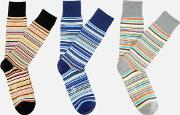 Signature 3 Pack Stripe Socks