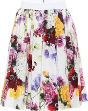 Floral Pleated Cotton Poplin Skirt