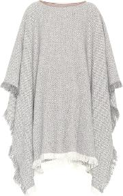 Leather Trimmed Cashmere Poncho