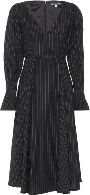 Pinstripe Wool Blend Dress