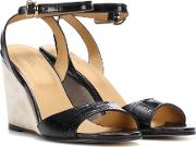 Oda Embossed Leather Wedges