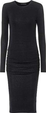Ruched Ribbed Knit Dress