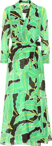 Printed Cotton And Silk Wrap Dress