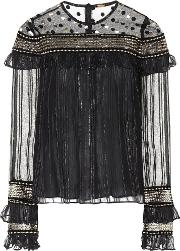 Embroidered Tulle And Chiffon Top