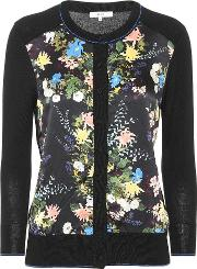 Wool And Silk Blend Floral Cardigan