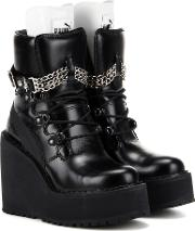 Rihanna Embellished Leather Wedge Ankle Boots