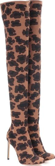 Leopard Printed Over The Knee Boots