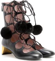Heloise Embellished Lace Up Leather Ankle Boots