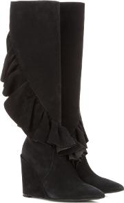 Ruffled Suede Knee High Wedge Boots